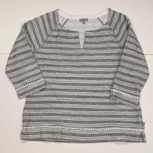 T by Talbots Top Size Medium Grey & White